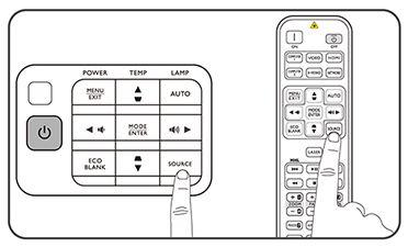 Selectarea sursei de semnal din telecomanda sau de pe panoul videoproiectorului